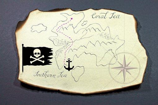 Treasure Map, Island, Map, Treasure Hunt, Pirate, Paper