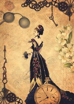 Steampunk, Clock, Lady, Victorian, Pocket Watch