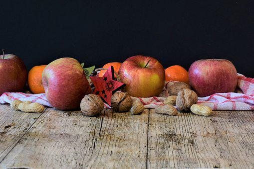 East, Apple, Nuts, Tangerines, Healthy, Nutrition