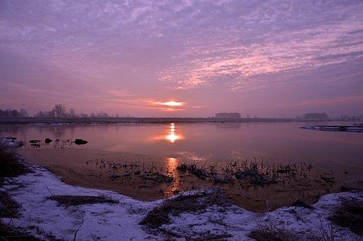 Landscape, River, River Landscape, Sunrise, Bank