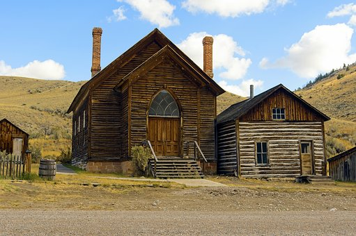 Bannack Methodist Church By A House, Montana, Bannack