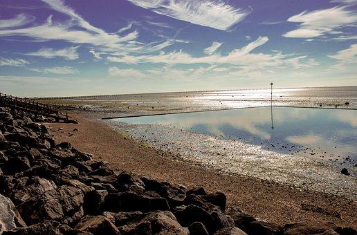Shoeburyness, Low Tide, Sea, Coast, Seaside, Bay