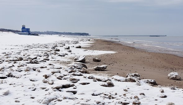 Sea, Beach, Winter, Wintry Beach, Snowy Beach