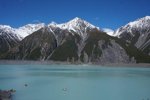 New Zealand, Nature, Mountains, Berge, Lake, Kayak