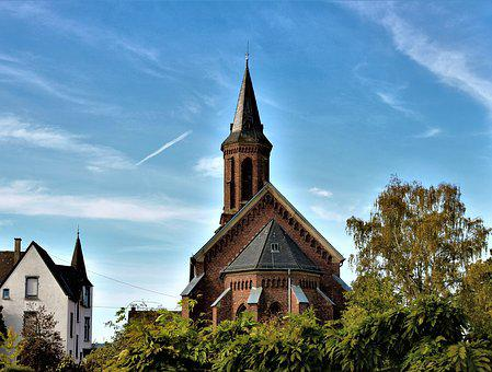 Church, Tower, Brick, Sky, Building, Places Of Interest