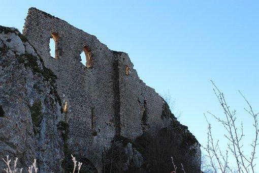 Roquefixade, Castle, Cathar, Ariege, France, Ruin