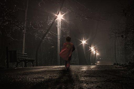 Lamp Post, Post, Brave, Kid, Child, Boy, People