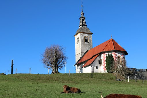 Koreno, Horjul, Church, Slovenia, Nature, Landscape