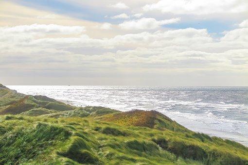 Beach, Sea, Dune, Sky, Clouds, Wide, Vacations, Denmark