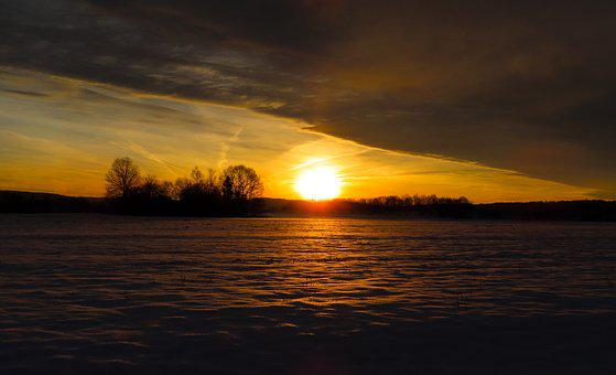 Nature, Landscape, Winter, Sun, Sunrise, Snow, Cold