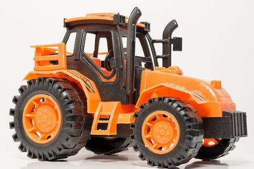 Tractor, Toy, Plastic, Construction