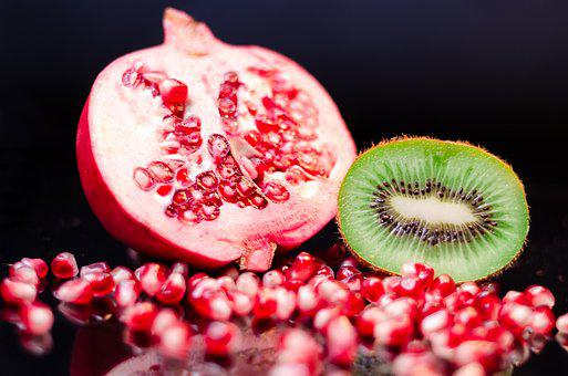 Pomegranate, Kiwi, Fruit, Eat, Food, Nutrition