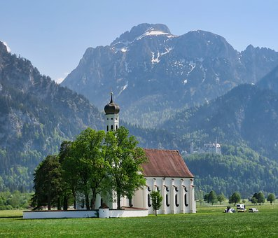 Chapel, Coloman Church, Mountains, Füssen, Schwangau