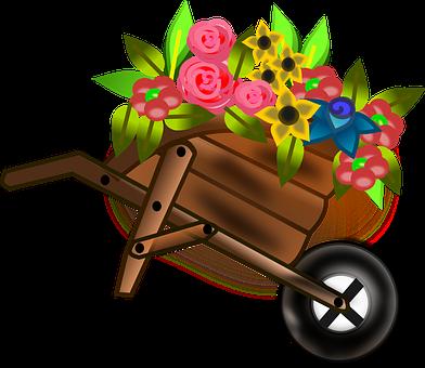 Wheelbarrow, Barrow, Push Cart, Flower Basket, Girl