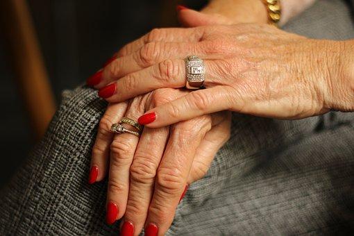 Hands, Rings, Nails, Female, Nail Polish, Elderly