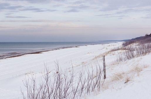 Sea, Snow, Snowy Dunes, Outside, Snowy Beach, Landscape