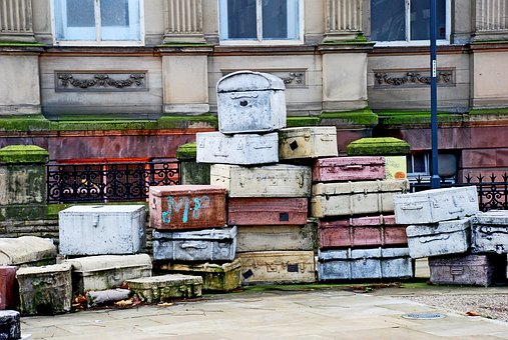 Liverpool, Suitcase, Sculpture, Street, City