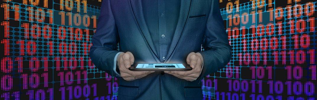 Block Chain, Businessman, Tablet, Control, City, Man