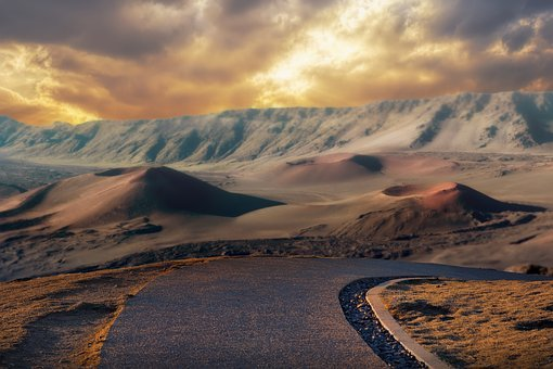 Mountain, Sky, Sunset, Clouds, Volcano, Road, Scenic