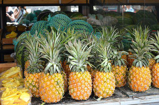 Pineapple, Green, Orange, Fruit, Exotica, The Freshness