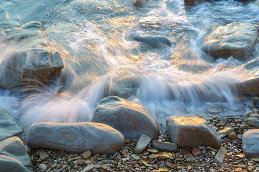 Beach, Sea, Pebble, Water, Abendstimmung, Stones