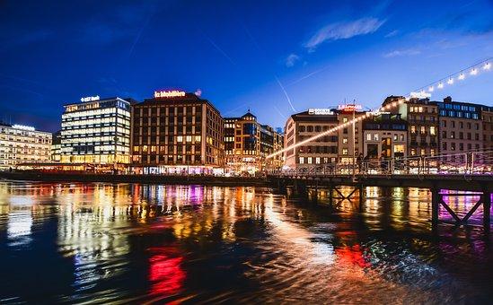 City, Twilight, Lights, Water, Bridge, Reflection