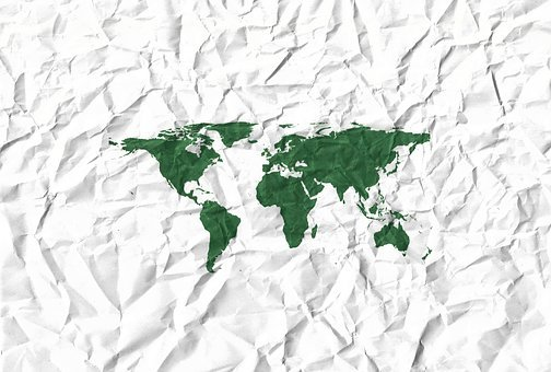 Continents, Crumpled, Paper, Map, Fold, Wrinkled, Ridge