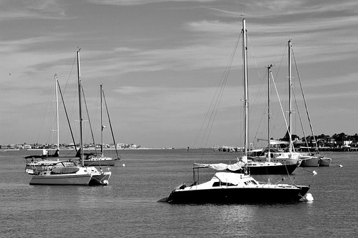 Sailboats, River, Moored, Anchored, Boat, Water, Sky