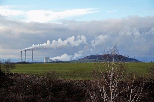 Chemical, Factory, Smoking, Chimneys, Steam, Smoke