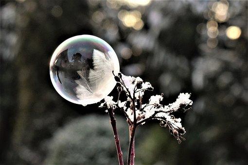 Soap Bubble, Frozen, Eiskristalle, Winter, Bubble