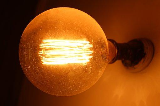 Light, Bulb, Circle, Lamp, Yellow, Grey, Black, Socket
