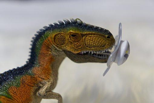 Dinosaur, Pacifier, Sucking, Toys, Play, T Rex