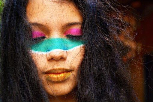 Girl, Women, Face Paint, Tribal