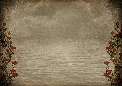 Roses, Water, Clouds, Sailing Vessel, Columnar, Vintage