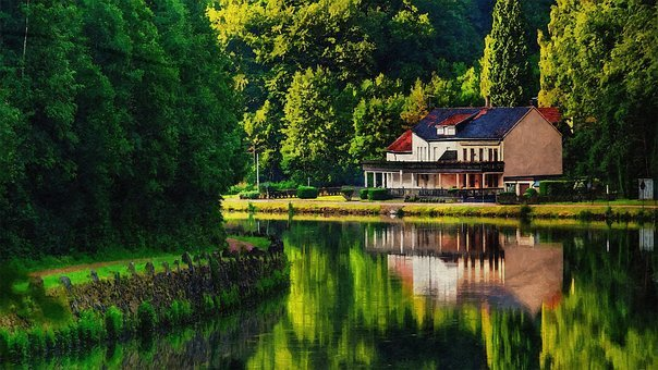 Outdoor, Water, Reflection, Trees, Art, Landscape
