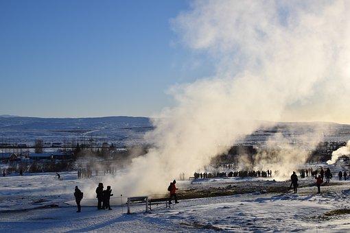 Geysir, Iceland, Scene, Steam, Water, Ice, Mountains