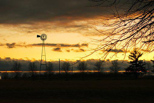 Sunset, New Jersey, Windmill, Trees, Sky, Tree Line