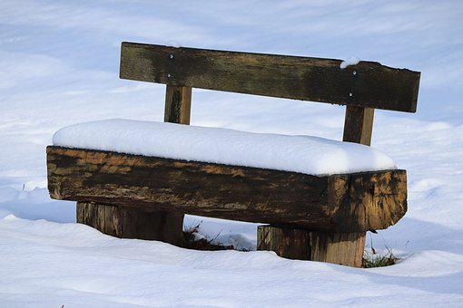 Tranquility Base, Snow, Wooden Bench, Snowy, Bank