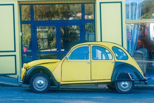 Two Horses, Citroën, 2cv, France, Car, Auto, Vintage