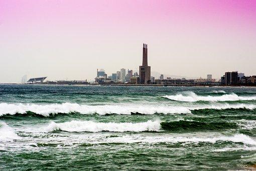 Waves, Wind, Sea, Costa, Beach, Marina, Sky, Skyline