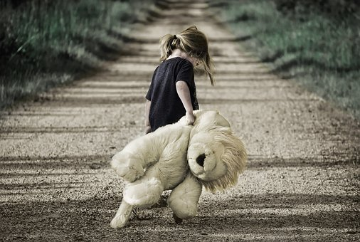Girl, Bear, Teddy, Childhood, Colour