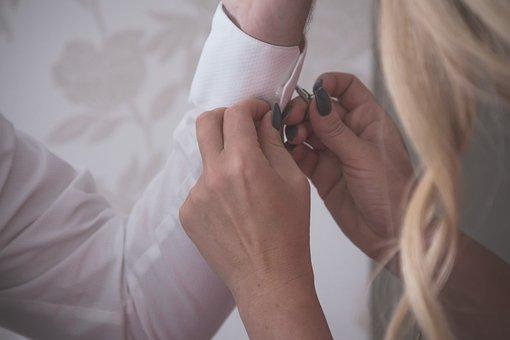 Wedding, Groom, Bride, Pair, Shirt, Mangetten Buttons