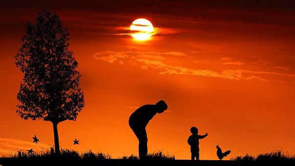 Sunset, Woman, Child, Cock, People, Silhouette, Sky