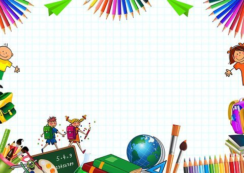 Frame, School, Children, Globe, Board, Colored Pencils