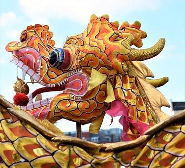 Chinese New Year, Dragon, Lion, Nottingham, Uk, Colour