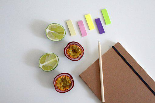 Notebook, Write, Fruit, Paper, Diary, Office, Pen