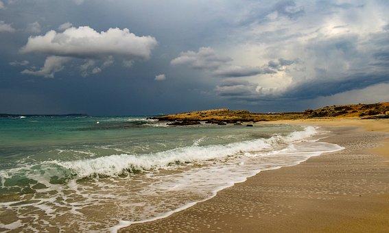 Beach, Empty, Sea, Waves, Horizon, Seascape, Sky
