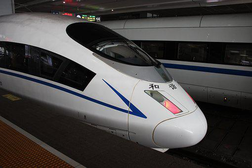 Chinese Train, Shanghai, Fast, Sleek, China, Locomotion