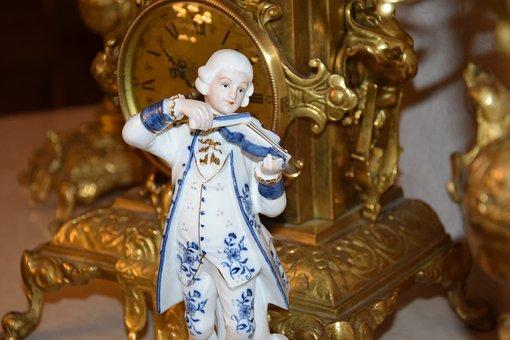 Porcelain, Figurines, Clock, Antique, Barok, The Art Of
