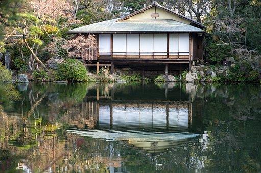 Japan, Kobe, Garden, Lake, Traditional House